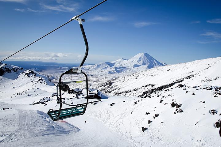 The awesome snow capped volcano Mt Ngauruhoe from Mt Ruapehu Whakapapa Ski Field Chair Lift New Zealand