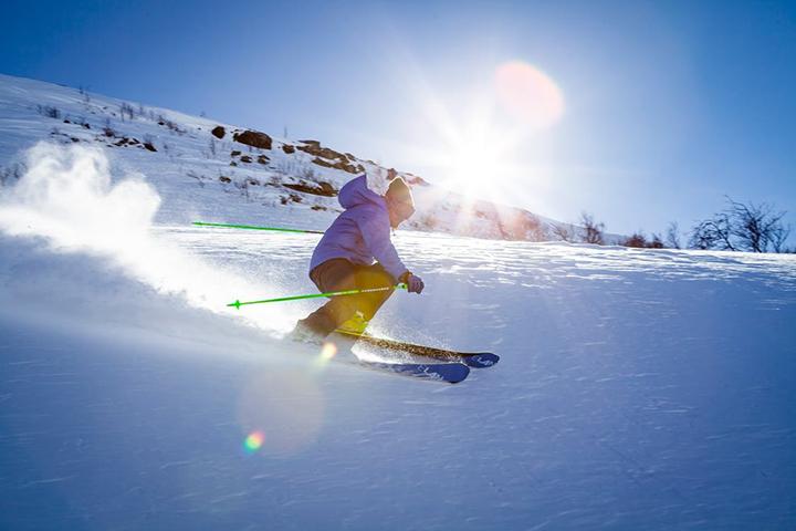 skier at sunset