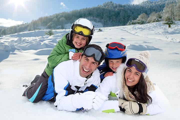 Family enjoying Mt Ruapehu ski season