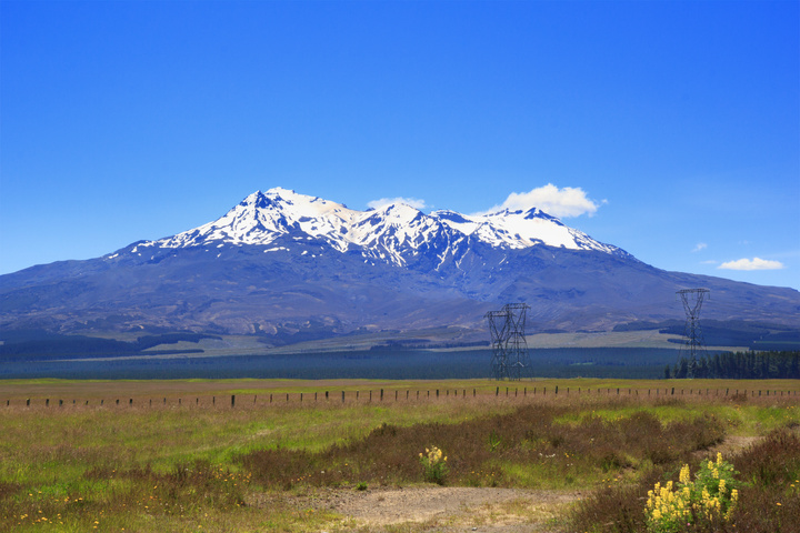 New Zealand landscape on the Tongariro mountain biking trails, Tongariro national Park